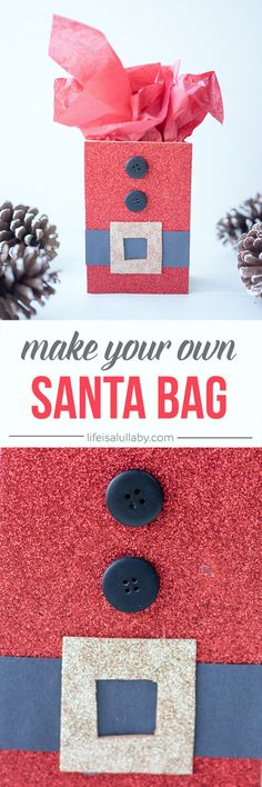 Learn how to make this fun and easy DIY Santa Gift Bag! This is SO CUTE and easy to do!