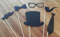 Photo Props: The Gentlemen's Set (6 Pieces) - party wedding engagement birthday die cut mustache top hat bow tie pipe stick