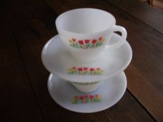 Vintage Pair Fire King Tulip Cups & Saucers by Pesserae on Etsy, $9.00