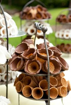 This is a great idea! Have an ice cream bar at your wedding - just display the cones and serve. ice cream bar party ideas, ice cream at weddings, food, ice cream party bar ideas, ice cream bars, ice cream bar at wedding, ice cream cone display, dessert, parti