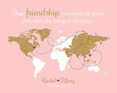 Best Friend Custom Gift, Long Distance Friend,  Glitter Custom Map, Mom, Sister, Daughter, Farewell, Moving, Blush and Gold, Going Away