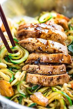 One Pot Teriyaki Chicken Zoodles {Zucchini Noodles} make the perfect easy low carb, gluten free (or paleo) weeknight meal! Best of all so much better than takeout - only 30 minutes to make with just one pan to clean!