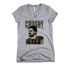 Sidney Crosby NHLPA Officially Licensed Pittsburgh Womens V-Neck S-2XL Sidney Crosby Sketch Stare Y