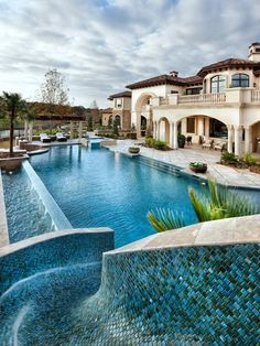 Perfect pool with slide! (Love that tile work too!)