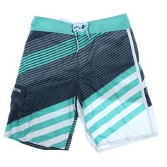 BILLABONG Mens Slice Gray Striped Lace Up Swim Board Shorts 31