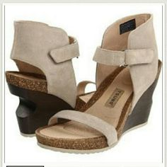 "TSUBO Tehina Suede Putty Platform sandal Worn once!! On trend with this fall fashion! Open and sleek, the Tsubo Tehina women's ankle strap wedge sandal embraces both simplicity of design and a carefully engineered fit. Versatile, with a contoured foam and cork footbed, the Tehina features great cushioning and arch support, with a style that will take you from 9 to 5 - and beyond.  Materials-Suede upper, foam and cork footbed, sole Heel Height 4"" Platform 1"" Tsubo  Shoes"