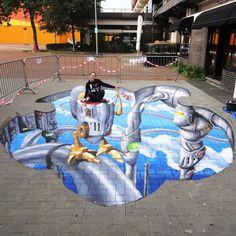 3D street painting by Remco van Schaik.