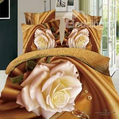 New Arrival 100% Cotton Blooming Flowers Dark Yellow 4 Piece Bedding Sets/Duvet Cover Sets