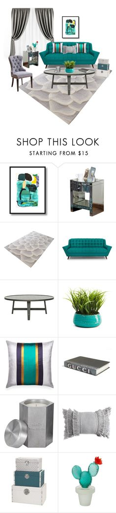 """""""Gray & turquoise"""" by ajubani7 ❤ liked on Polyvore featuring interior, interiors, interior design, home, home decor, interior decorating, Christopher Knight Home, Lazy Susan, Joybird and E. Lawrence, Ltd."""