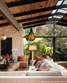 LOVE this!! colors, open space, everything! Cliff May restoration by Marmol Radziner
