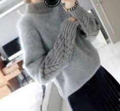 ニット・セーター ★国内在庫★ケーブル袖 モヘアニットセーター