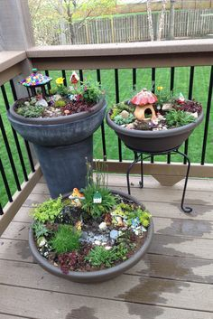 Fairy Gardens for the kids / gnome garden. My new deck will one day be full of these.