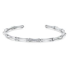 The Silver Lining   CHIMENTO Bamboo 18ct White Gold 0.19ct Diamond Bangle