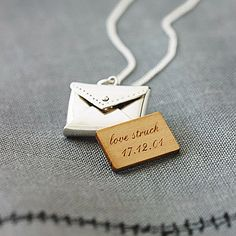 Because I'm totally pathetic! Personalised love letter necklace.