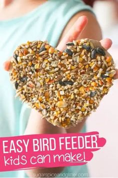 This DIY bird feeder is a fun craft project for kids. It inspires them to get outside with nature and have fun watching the birds eat from their homemade feeder! Diy And Crafts Sewing, Crafts To Sell, Easy Crafts, Homemade Bird Feeders, Diy Bird Feeder, Healthy Dog Treats, Healthy Foods To Eat, Crafts For Teens, Kids Crafts