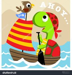 turtle is a young pirate with a bird the crew vector cartoon illustration Baby Wearing, Kids Girls, Tweety, Pirates, Print Design, Turtle, Pikachu, Graphics, Cartoon