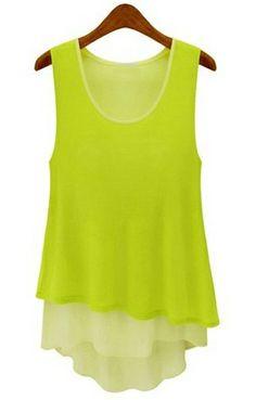 Light Green Sleeveless Ruffles Chiffon Tank Dress