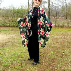 Ruana, Shawl, Wrap or Beach Coverup with Showy Hibiscus Flowers on Black Background--Sheer and Lightweight-One Size Fits Most by YoungbearDesigns on Etsy