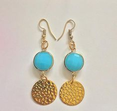 """Earrings with bright turquoise discs and gold plated hammered discs """"Blue Lagoon"""", Boho earrings, Turquoise earrings, FREE SHIPPING Boho Necklace, Boho Earrings, Drop Earrings, Cute Slippers, Boho Sandals, Blue Lagoon, Turquoise Earrings, Summer Looks, Boho Chic"""
