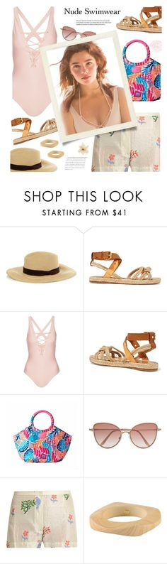"""""""Bare It All: Nude Swimwear"""" by joliedy ❤ liked on Polyvore featuring Étoile Isabel Marant, Topshop, Cutler and Gross, Kenneth Jay Lane, Balenciaga and Again"""