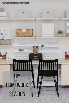 I created a homework station/office in my home using ELFA products! Easy and affordable. Full information on the blog! Homework Station Diy, Homework Area, Guest Bedroom Office, Office Organization, Organizing, Arts And Crafts Storage, Ikea Closet, Desk Areas, Bricolage