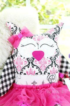 Soft Doll, Black and Pink Parisian Ballerina Owl