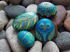 SET~Owl, Mandala Stone, Feather, Spiral Egg, 4 Hand Painted Stones, Green, Blue, Gold, Dot Painted Stones by KailasCanvas on Etsy