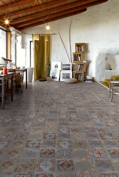 retro interior design. floor tiles.