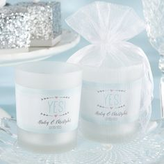 Light up your bridal shower or wedding reception with these personalized frosted glass votive candle favors.