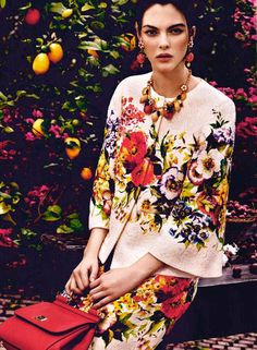 Marie Claire Kuwait and Arabia shoots the Dolce & Gabbana Fall Winter 2014-15 pre collection with Vittoria Ceretti immersed in nature
