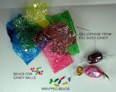 Use cellophane and polymer clay (or tiny beads)  to make miniature candies for my dollhouse living room   Source: Joann L. Swanson