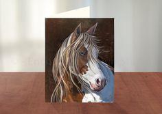 Horse Art Greeting Card, Horse Art Card, Pet Card, Custom Pet Greeting Cards, Blank Greeting Cards, Personalized Cards by enchantedezignstudio on Etsy