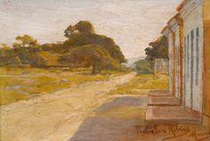 ROSALVO RIBEIRO - (1865 - 1915)    Título: Paisagem  Técnica: óleo sobre madeira  Medidas: 11 x 17 cm  Assinatura: canto inferior direito  Data/Local: Maceió