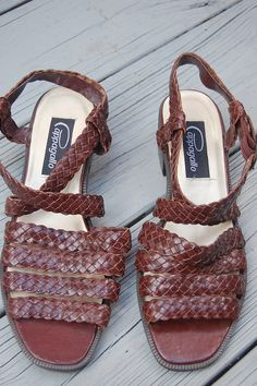 Vintage Pappagallo Brown Leather Woven Sandals by MaidenhairVintage, $24.00