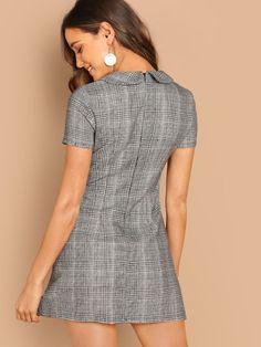 Peter-Pan-Collar Plaid Dress