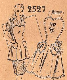 1940 apron pattern | Sweetheart Bib Apron Pattern 1940s Vintage Mail by sentimentalbaby