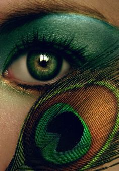 Beautiful emerald green eyes inspired by the vibrant colors of a peacock.