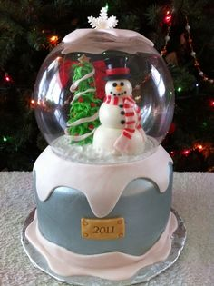 This breaks my rule of not adding too much non-edibles to a cake because there's no way around the snow globe, but I don't care! I love it! So clever! (User Faithc24 on cake central)