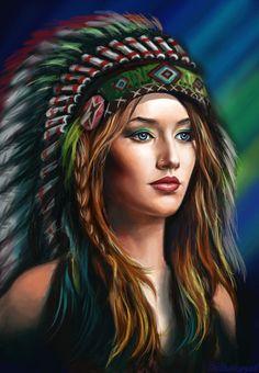 war bonnet girl by Bathorygen Native American Tattoos, Native Tattoos, Native American Girls, Native American Paintings, Native American Pictures, Native American Beauty, American Indian Art, Native Indian, Native Art