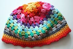 free pattern and great photo tutorial for crocheted granny square hat by revlie.typepad.com