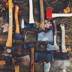 axes - blacksmithing art as advertising art #WildTraveller