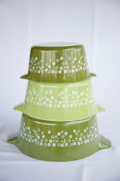 Vintage Set of Pyrex/Corning Round Casserole by Bullabags on Etsy, $33.00
