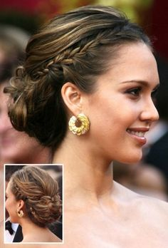 Braided low messy bun
