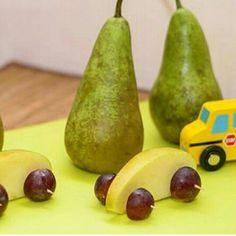 Машинки из яблока и виногдадин