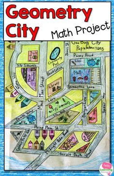 Looking to incorporate more art into your math class? This Geometry City math project is Teaching Geometry, Geometry Activities, Teaching Math, Math Activities, Math Teacher, Math Worksheets, Math Games, Teaching Ideas, Math For Kids