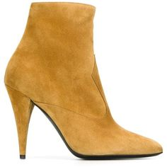 Saint Laurent 'Cat' booties (1 335 AUD) ❤ liked on Polyvore featuring shoes, boots, ankle booties, tan leather booties, brown boots, tan leather boots, brown ankle booties and brown high heel boots