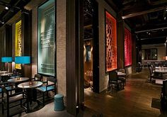 Buddakan New York | Restaurant | Projects | Gilles & Boissier. love the different colored panels.