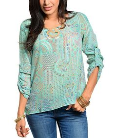 Look what I found on #zulily! Mint Abstract Arabesque Tab-Sleeve Top by The Wholesale Fashion Square #zulilyfinds