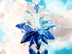 Crystal Suncatcher Car Charm created with Swarovski Dark Sapphire, Sapphire and Aurora Borealis Crystals.