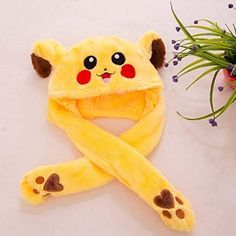 Cute Rabbit Pikachu Style Hats With Ears Moving Plush Funny Toy Stuffed Soft Hat Cute Birthday Gift, Birthday Gifts For Kids, Funny Hats, Cute Hats, Pikachu Hat, Funny Rabbit, Cute Tigers, Ear Hats, Kawaii Clothes